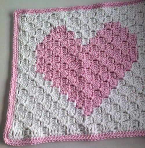 Free Crochet Patterns For Baby Pram Blankets : C2C Preemie Heart Blanket