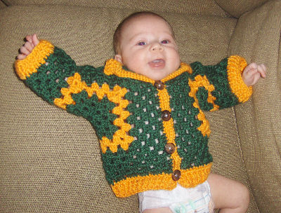 hexagon granny baby sweater jacket free crochet pattern