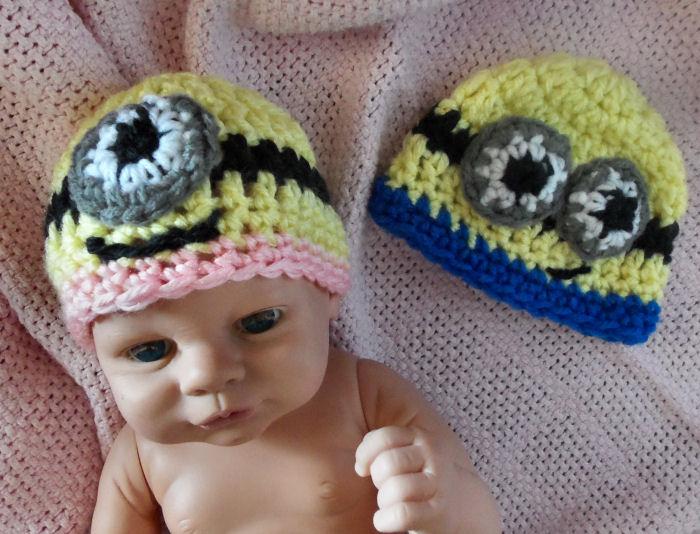 Bevs Preemie Minion Hat