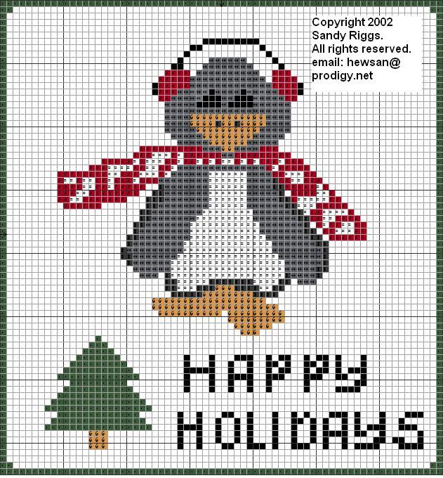 Christmas penguin cross stitch chart