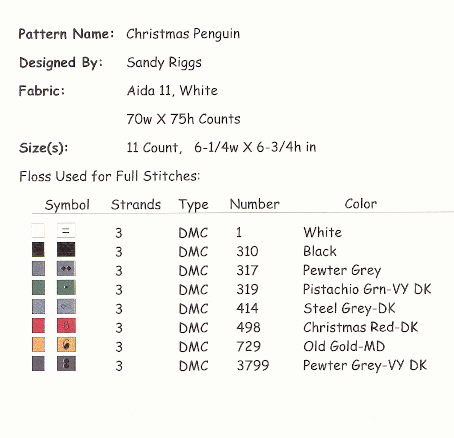 Christmas penguin floss chart