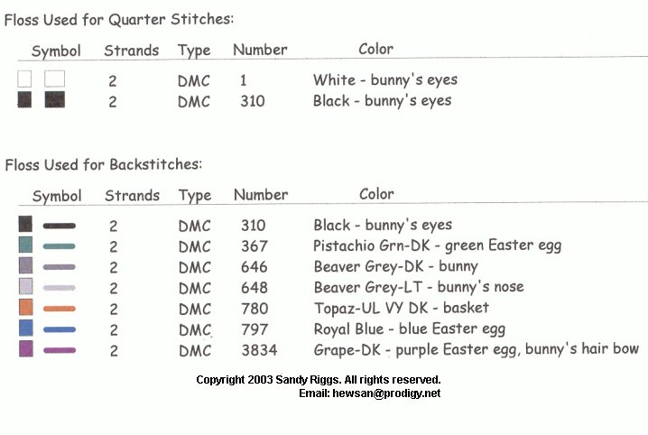 Easter Bunny And Basket Floss List 2