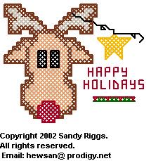 reindeer and star cross stitch