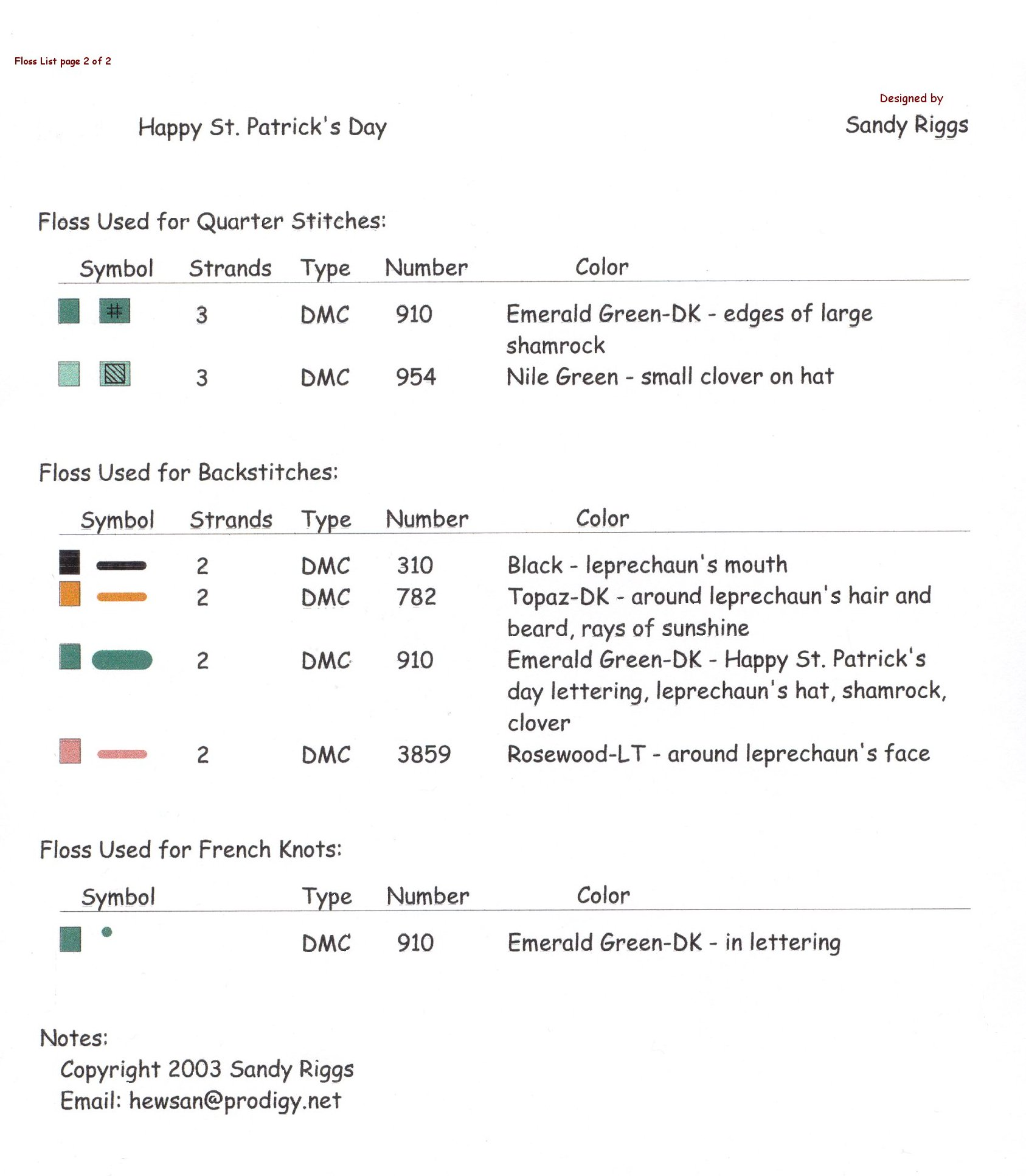 st. patrick's day cross stitch floss list page 2 of 2