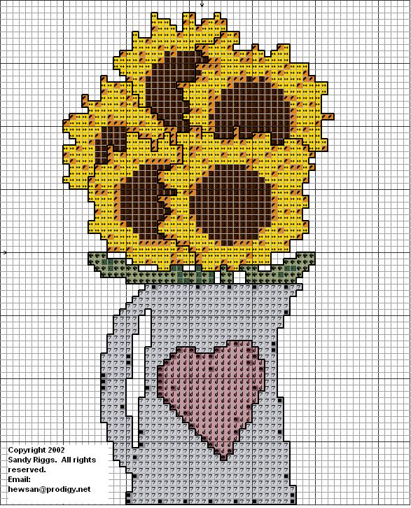 sunflowers in a pitcher cross stitch chart