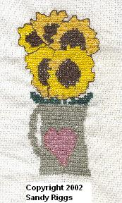 sunflowers in a pitcher cross stitch finished project photo