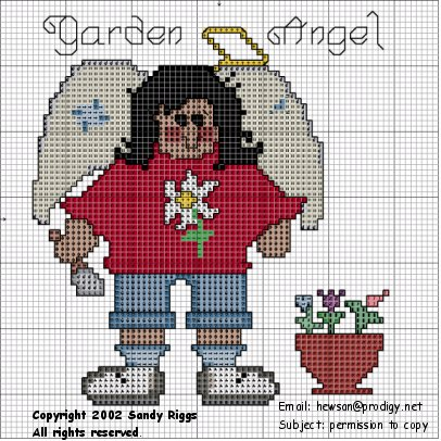 Garden Angel Cross Stitch Chart showing symbols